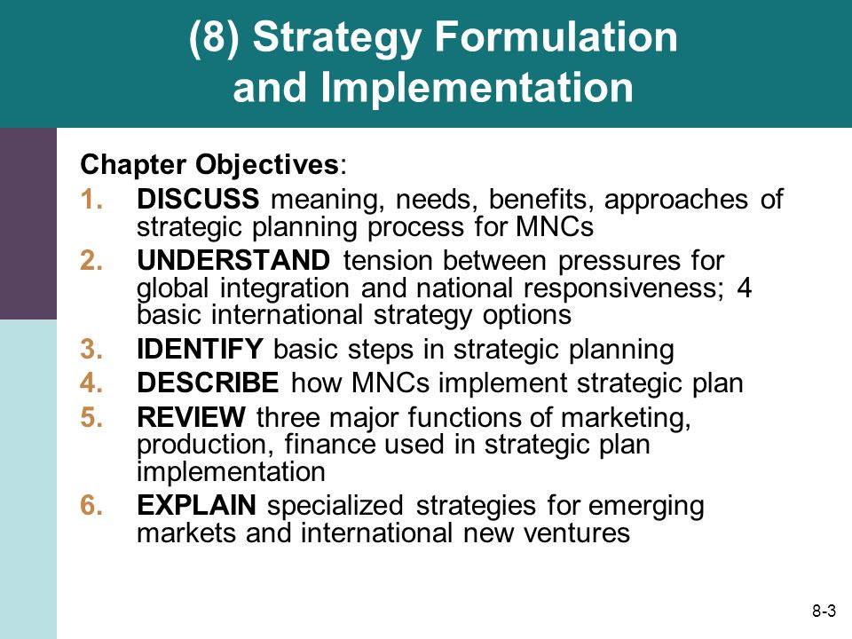discuss the role of resources and capabilities in strategy formulation The fundamental success of a strategy depends on three critical factors: a firm's alignment with the external environment, a realistic internal view of its core competencies and sustainable competitive advantages, and careful implementation and monitoring this article discusses the role of finance in strategic planning, decision making.