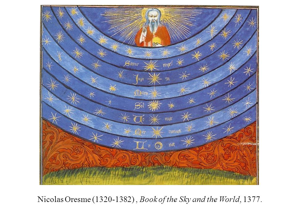 Nicolas Oresme ( ) , Book of the Sky and the World, 1377.