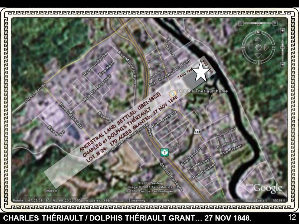 CHARLES THÉRIAULT / DOLPHIS THÉRIAULT GRANT… 27 NOV 1848.