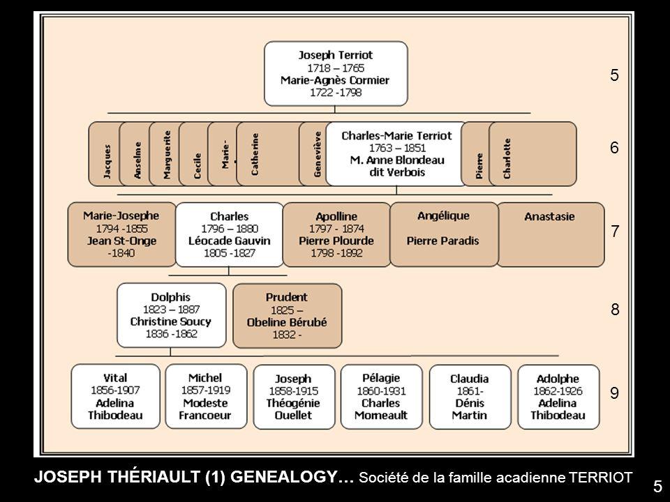 5 6 7 8 9 JOSEPH THÉRIAULT (1) GENEALOGY… Société de la famille acadienne TERRIOT 5