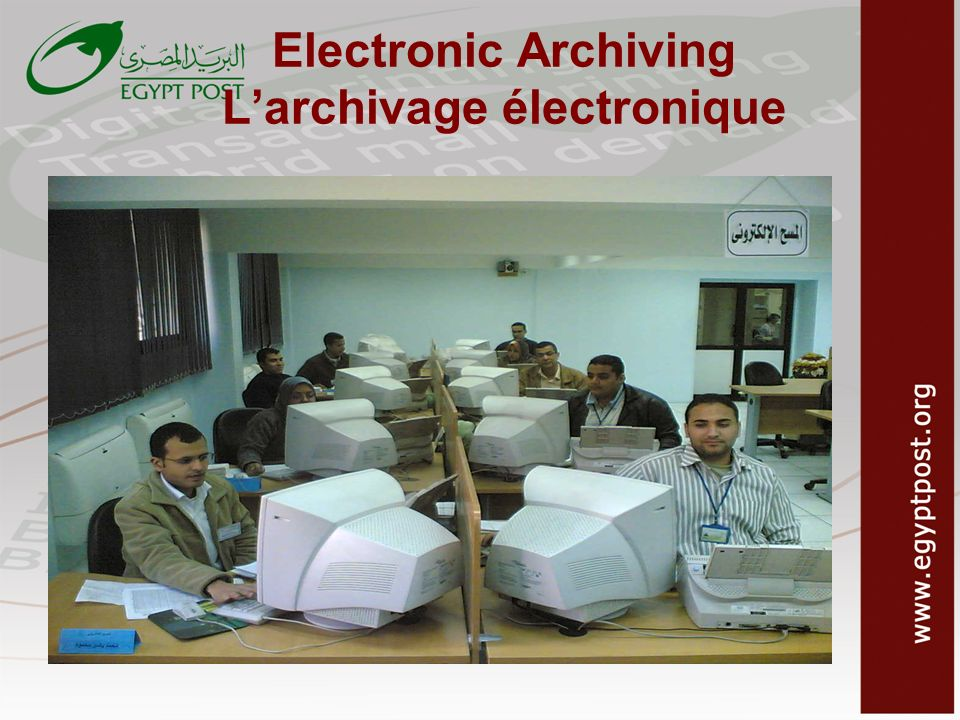 Electronic Archiving L'archivage électronique