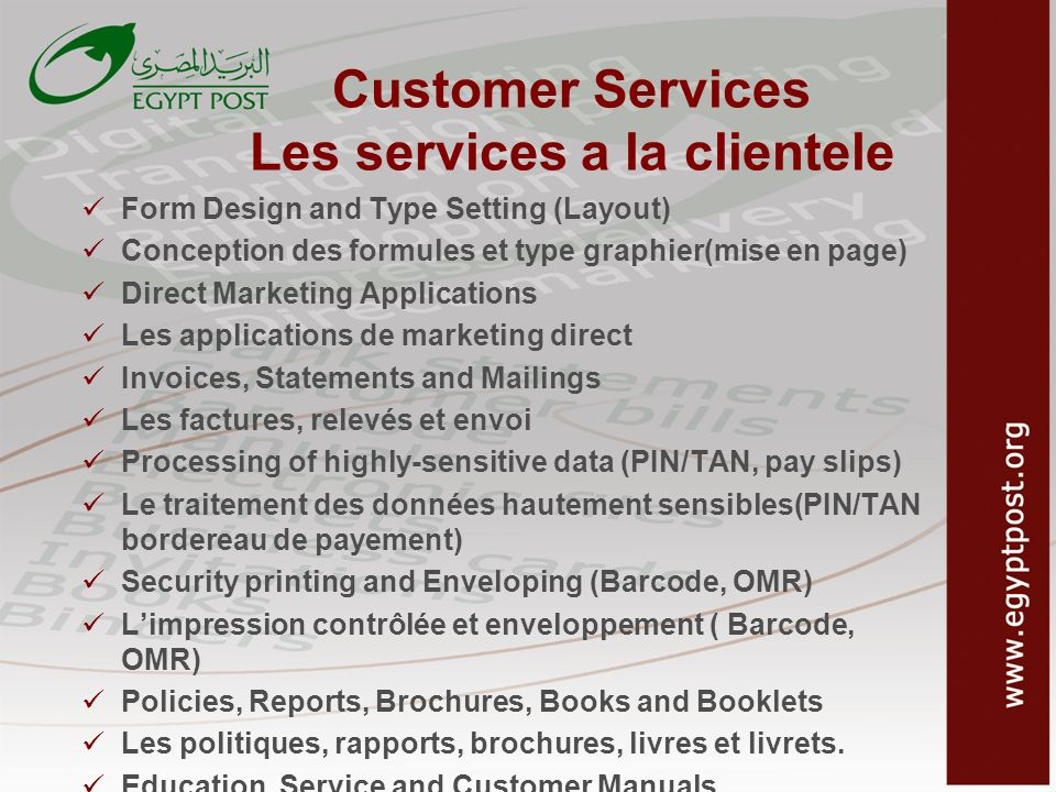 Customer Services Les services a la clientele