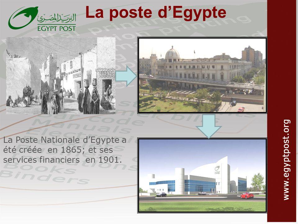 La poste d'Egypte La Poste Nationale d'Egypte a été créée en 1865; et ses services financiers en 1901.