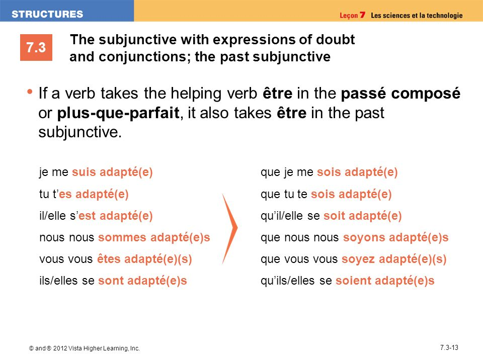 The subjunctive with expressions of doubt and conjunctions; the past subjunctive