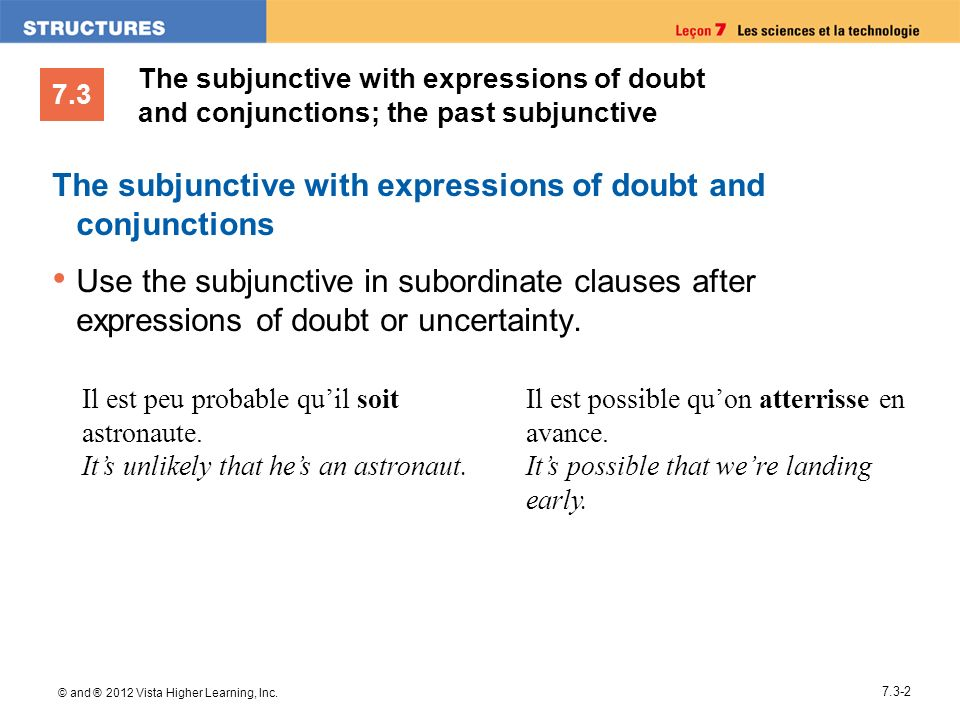 The subjunctive with expressions of doubt and conjunctions