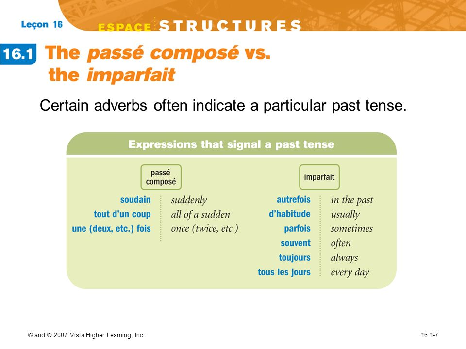 Certain adverbs often indicate a particular past tense.