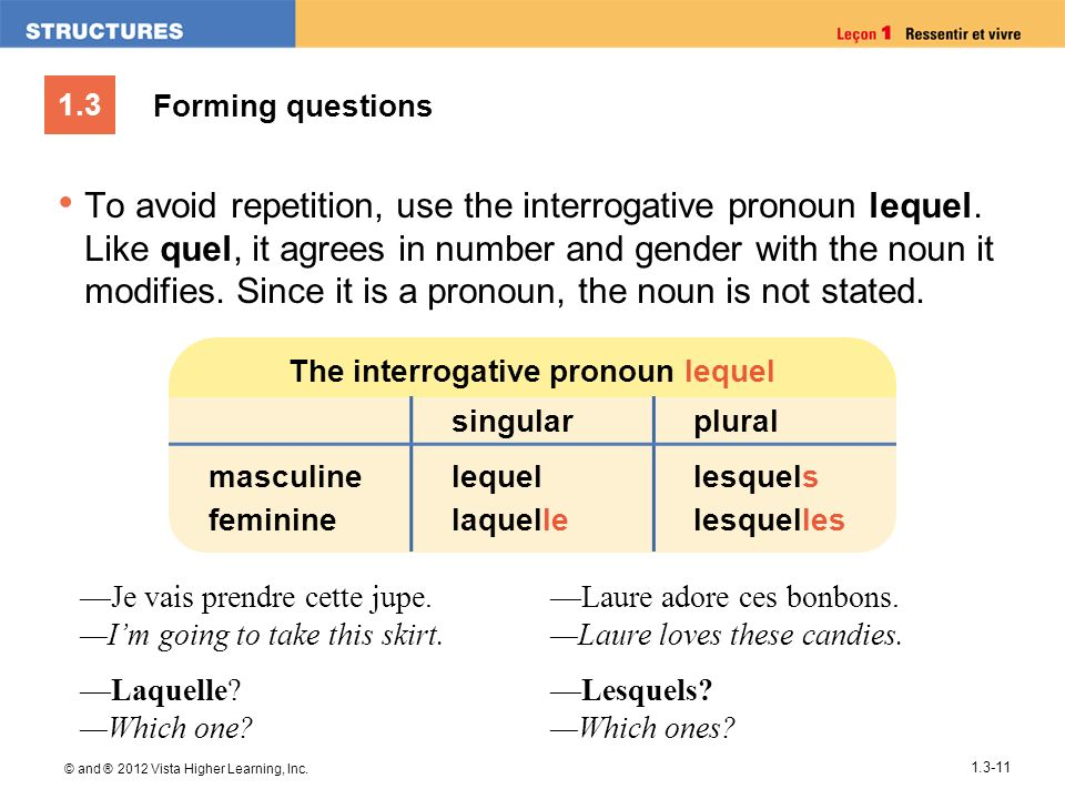 The interrogative pronoun lequel