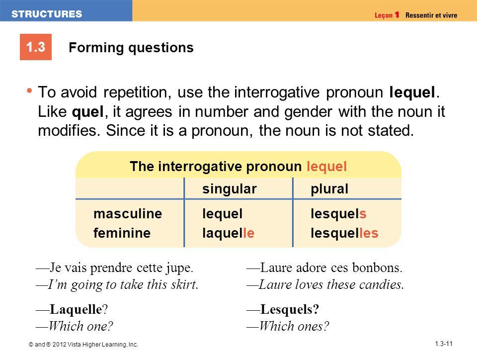 The interrogative pronoun lequel