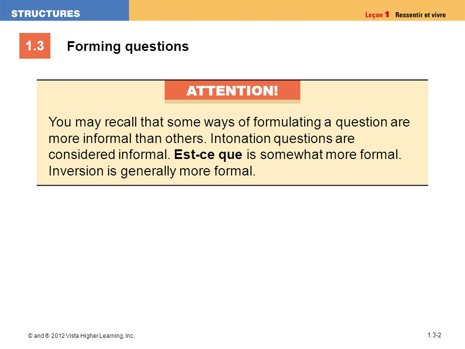 Forming questions ATTENTION!