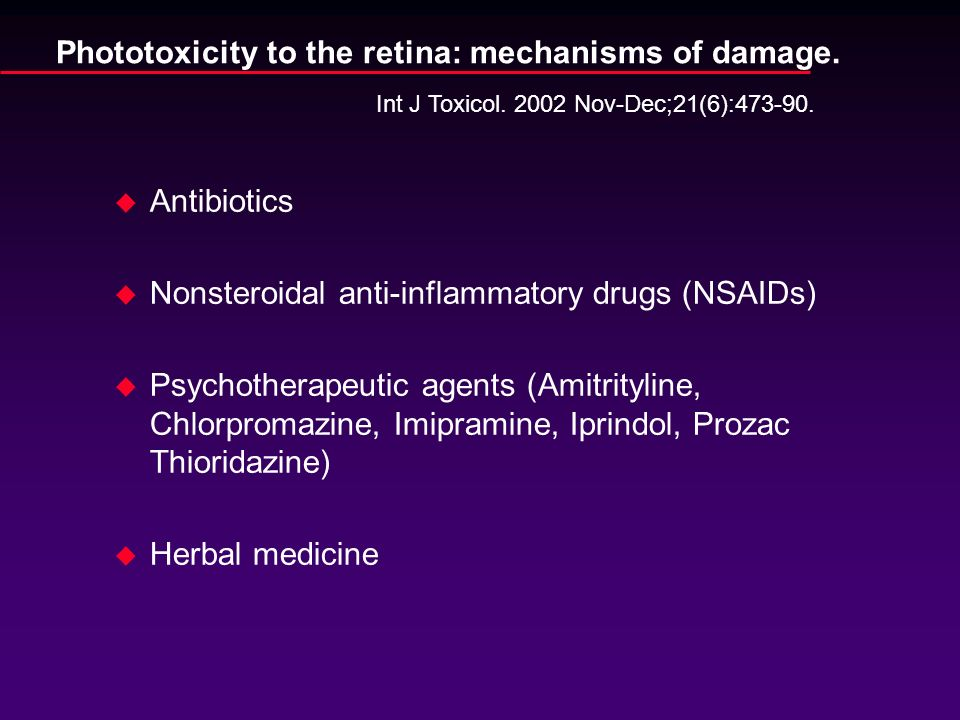Phototoxicity to the retina: mechanisms of damage.