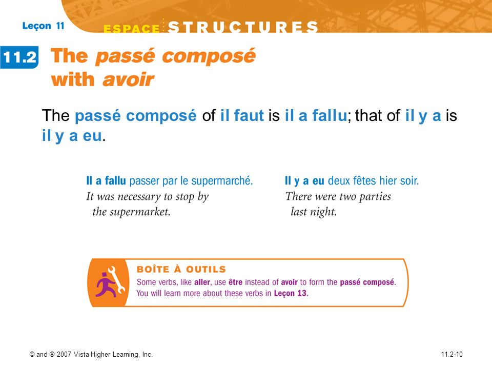 The passé composé of il faut is il a fallu; that of il y a is il y a eu.