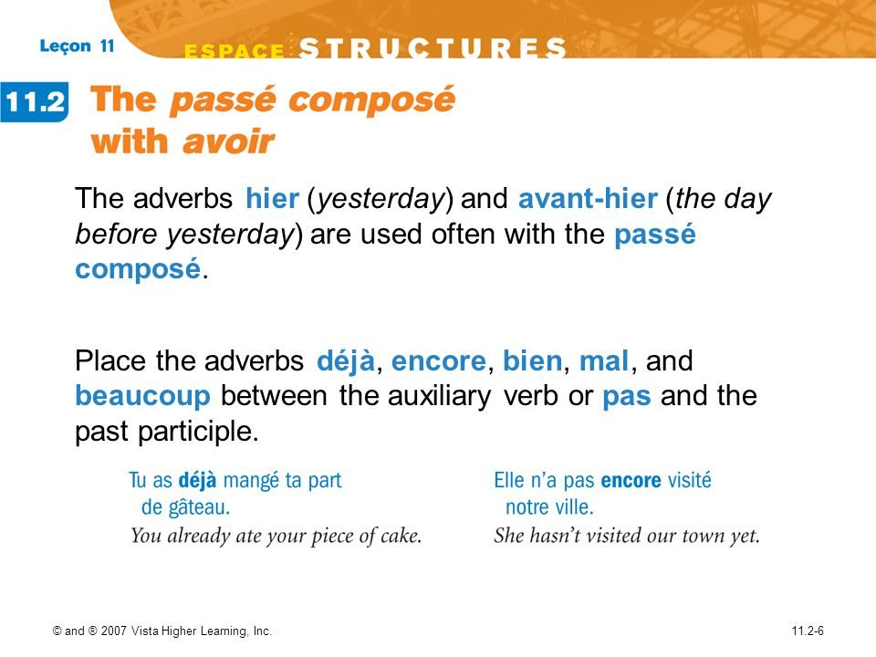 The adverbs hier (yesterday) and avant-hier (the day before yesterday) are used often with the passé composé.