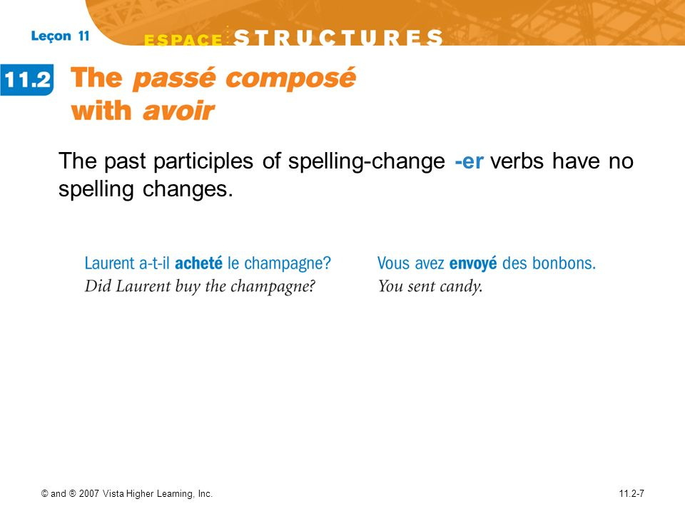 The past participles of spelling-change -er verbs have no spelling changes.