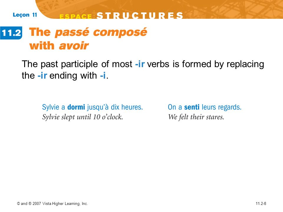 The past participle of most -ir verbs is formed by replacing the -ir ending with -i.