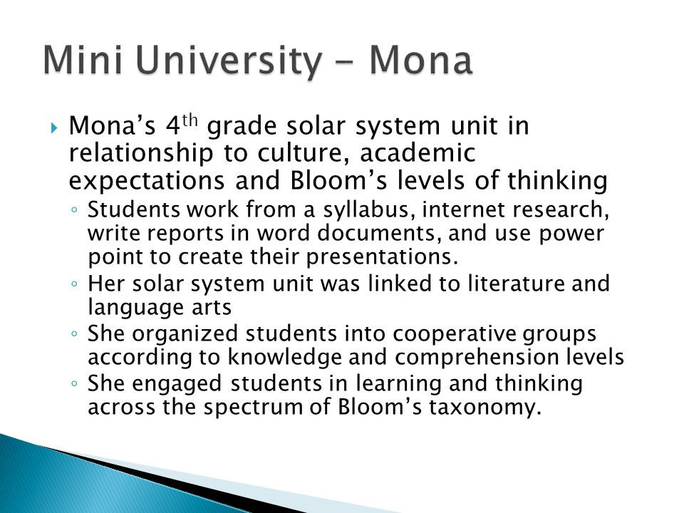 Mini University - Mona Mona's 4th grade solar system unit in relationship to culture, academic expectations and Bloom's levels of thinking.