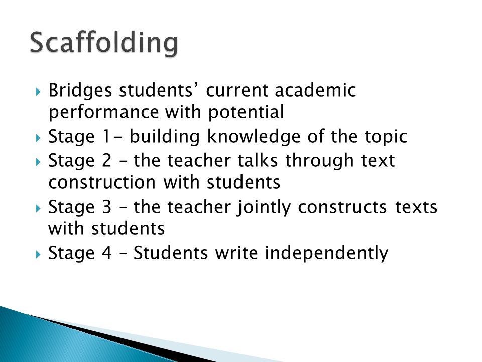 Scaffolding Bridges students' current academic performance with potential. Stage 1- building knowledge of the topic.