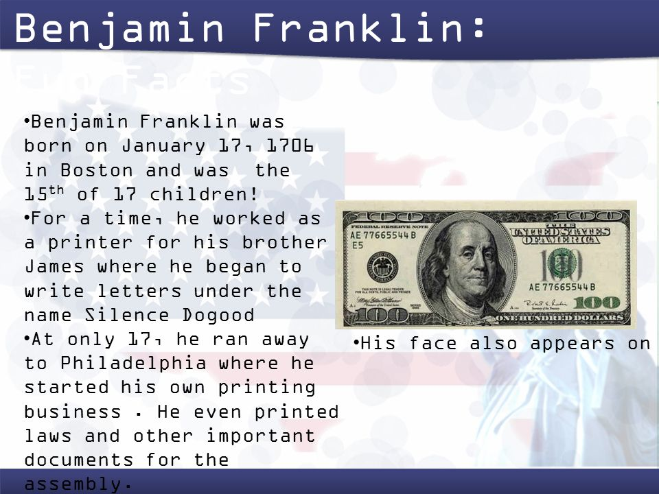 a description of benjamin franklin as a scientist and inventor Franklin was a renowned polymath and a leading author, printer, political theorist, politician, freemason, postmaster, scientist, inventor, civic activist, statesman, and diplomat as a scientist, he was a major figure in the american enlightenment and the history of physics for his discoveries and theories regarding electricity as an.