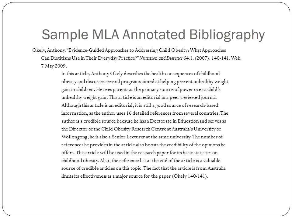 mla style annotated bibliography What is the mla style the modern language association (mla) set guidelines for writing research papers and annotated bibliographies this style is for history and.