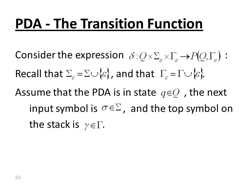 PDA - The Transition Function