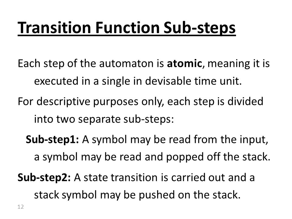 Transition Function Sub-steps