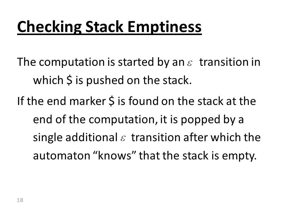 Checking Stack Emptiness