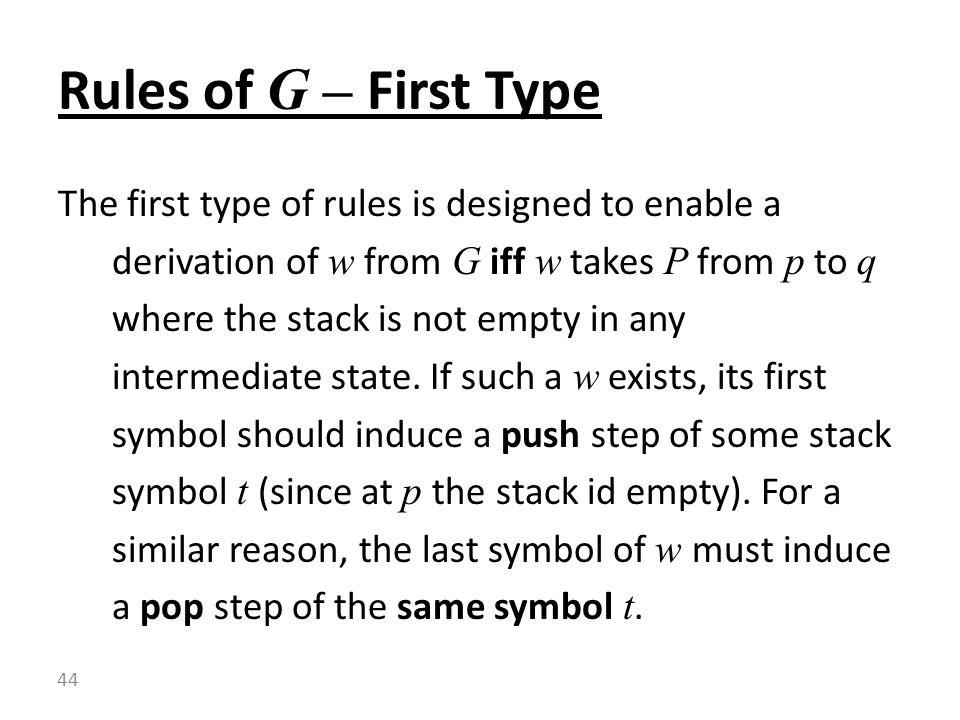 Rules of G – First Type