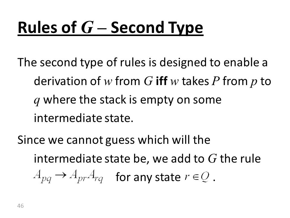 Rules of G – Second Type