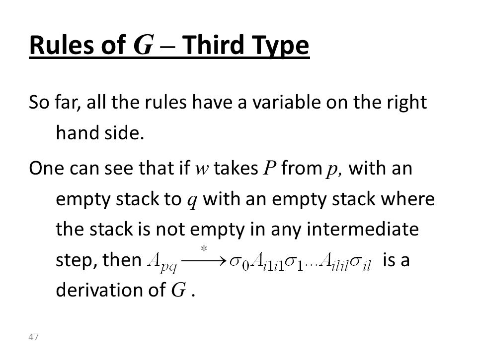 Rules of G – Third Type