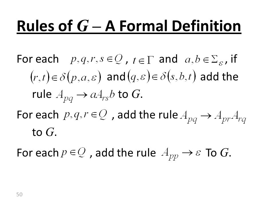 Rules of G – A Formal Definition