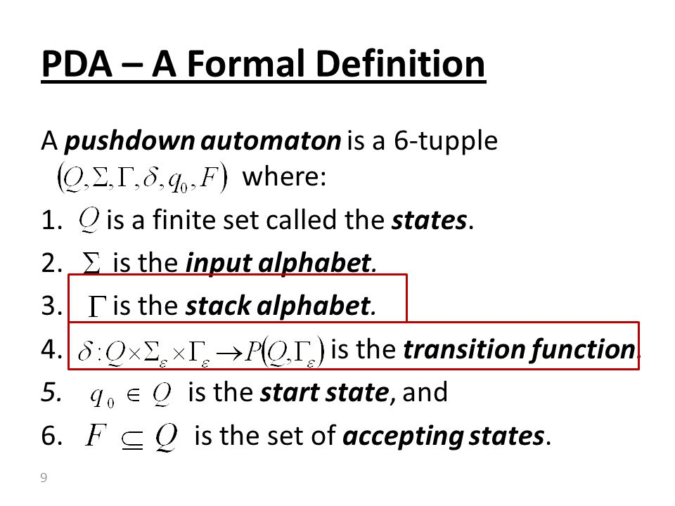 PDA – A Formal Definition
