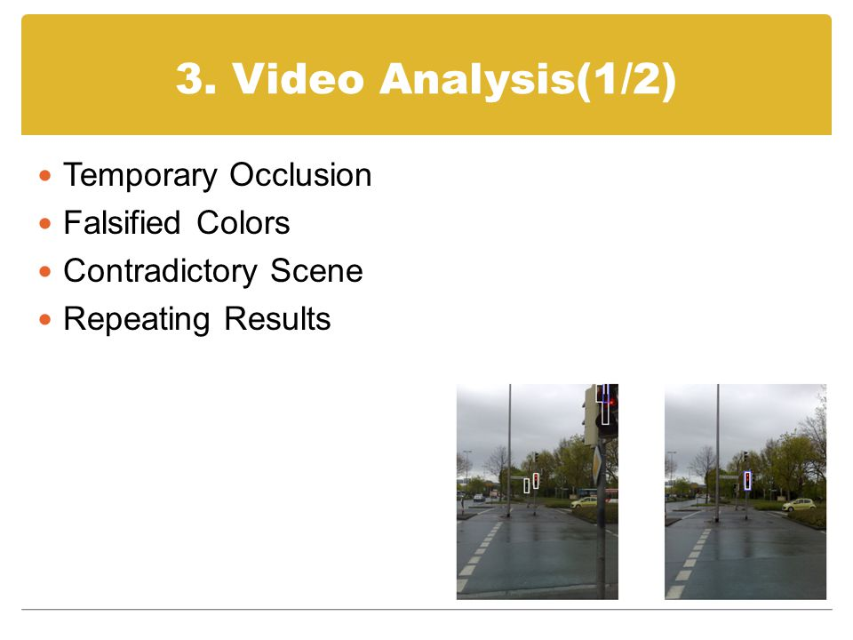 3. Video Analysis(1/2) Temporary Occlusion Falsified Colors