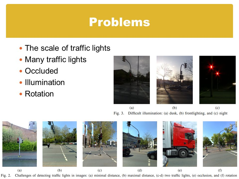 Problems The scale of traffic lights Many traffic lights Occluded