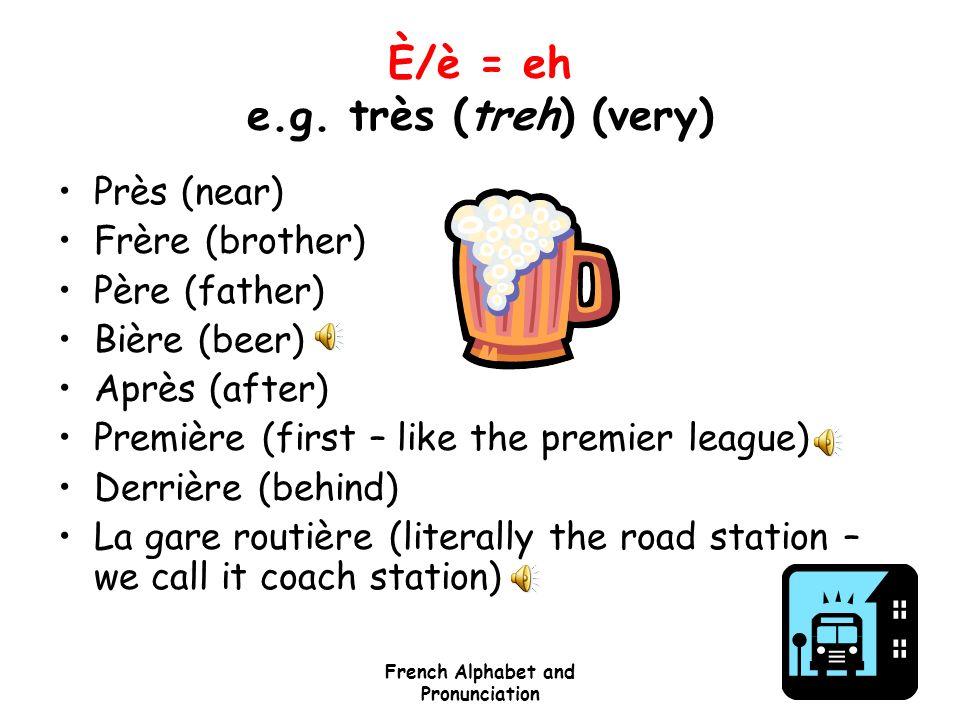 È/è = eh e.g. très (treh) (very)