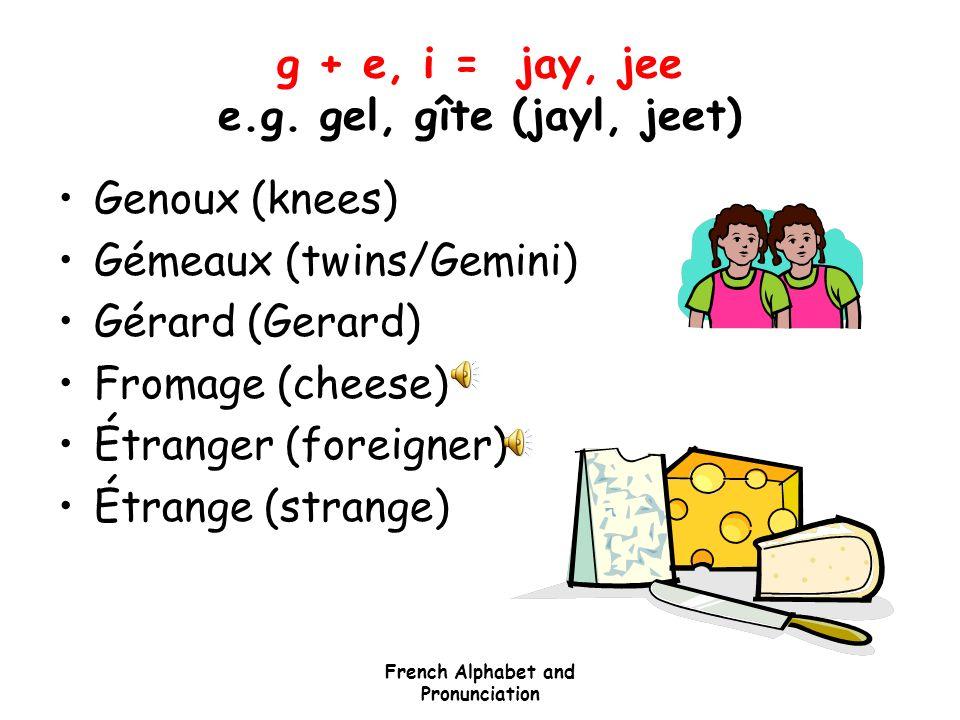 g + e, i = jay, jee e.g. gel, gîte (jayl, jeet)