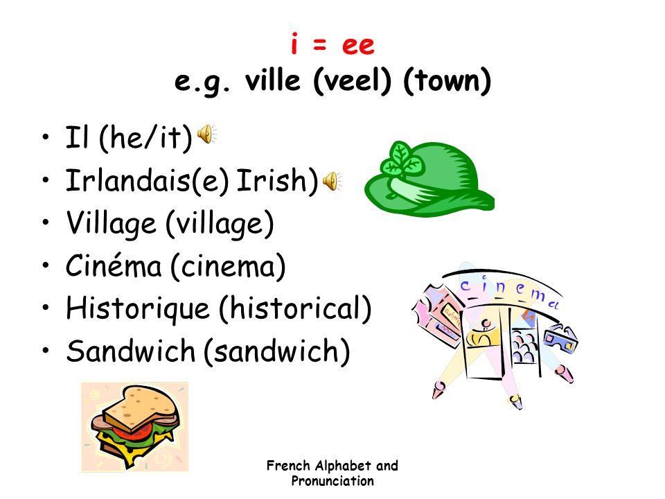 i = ee e.g. ville (veel) (town)