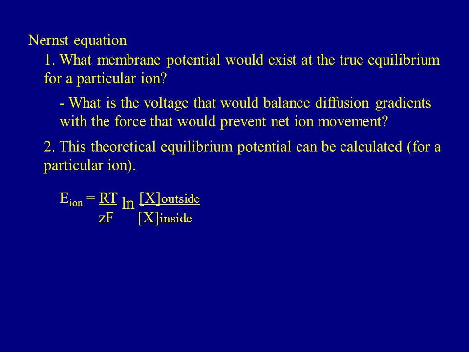 Nernst equation 1. What membrane potential would exist at the true equilibrium for a particular ion
