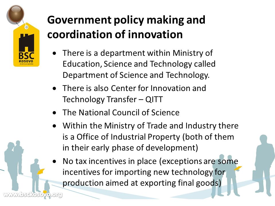 Government policy making and coordination of innovation