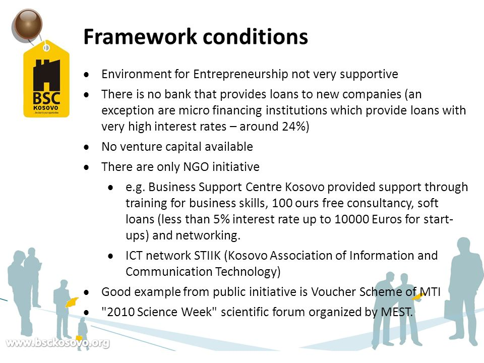 Framework conditions Environment for Entrepreneurship not very supportive.