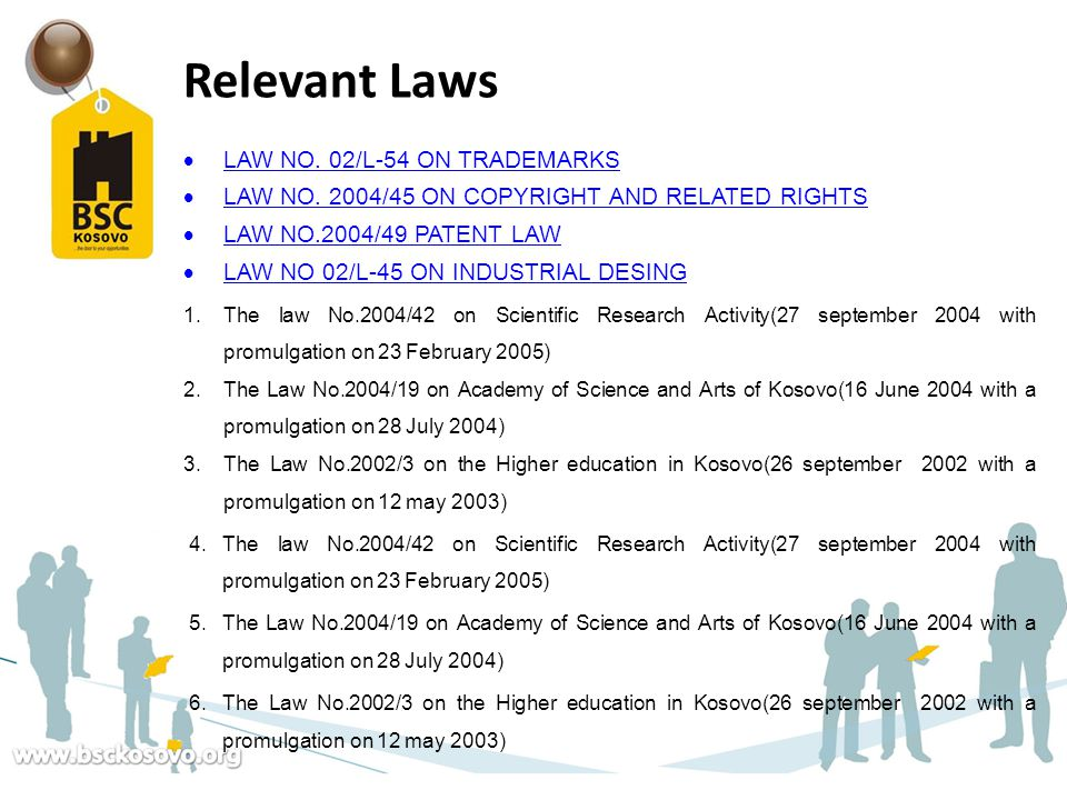 Relevant Laws LAW NO. 02/L-54 ON TRADEMARKS