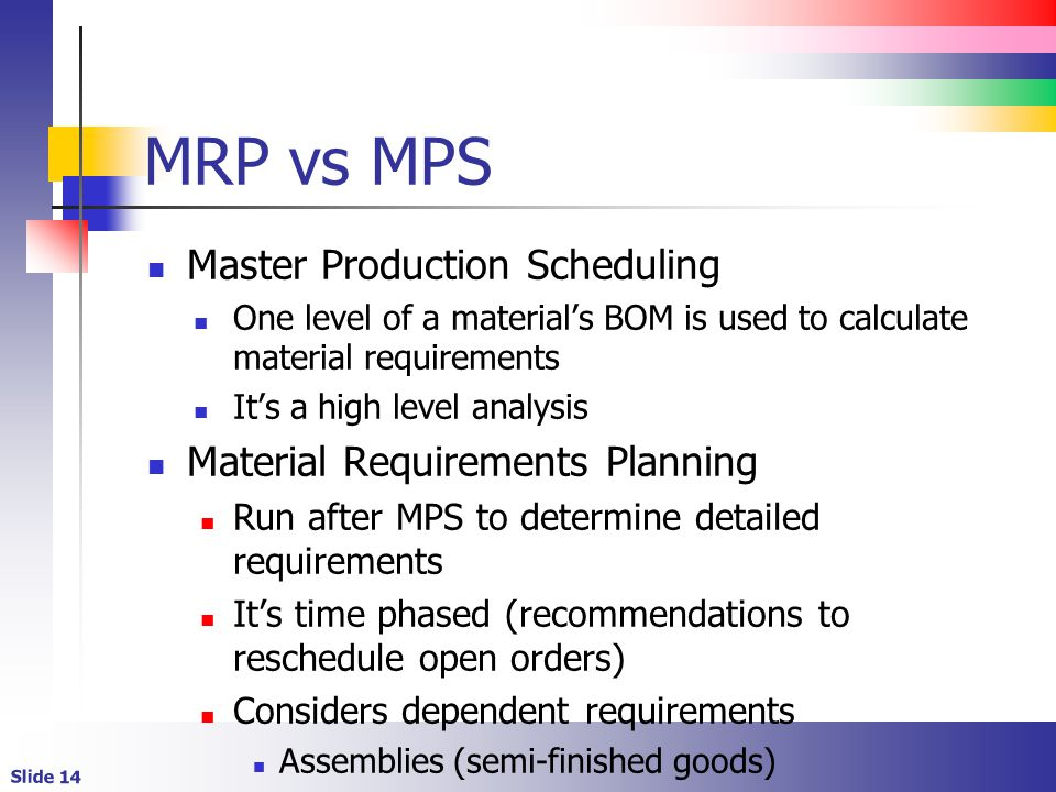 MRP vs MPS Master Production Scheduling Material Requirements Planning