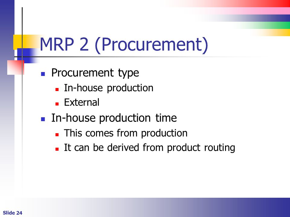MRP 2 (Procurement) Procurement type In-house production time