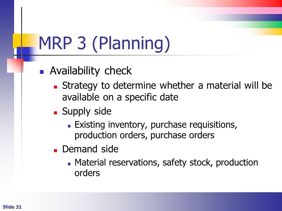 MRP 3 (Planning) Availability check