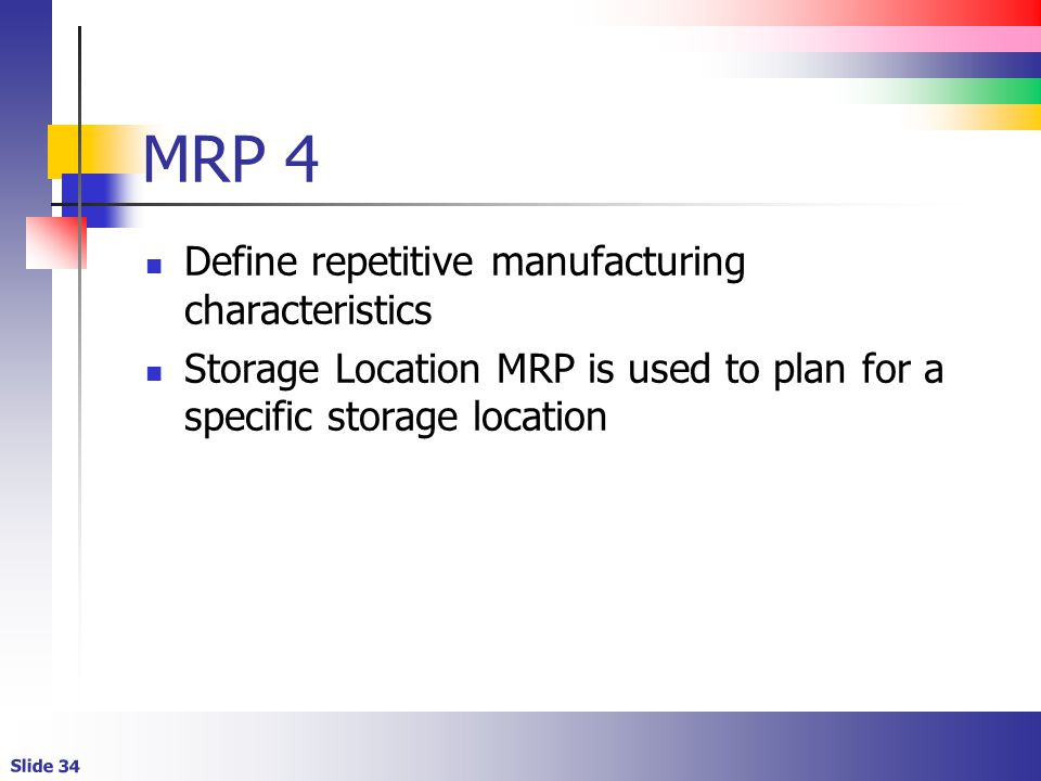 MRP 4 Define repetitive manufacturing characteristics
