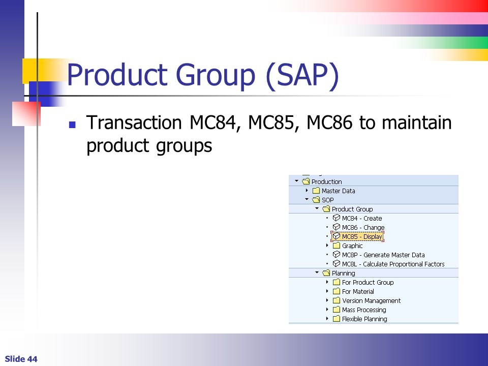 Product Group (SAP) Transaction MC84, MC85, MC86 to maintain product groups