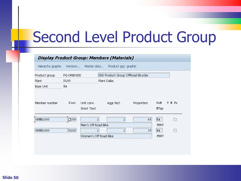 Second Level Product Group