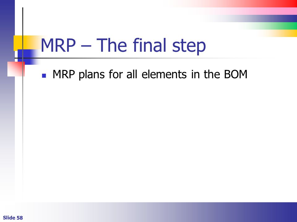 MRP – The final step MRP plans for all elements in the BOM