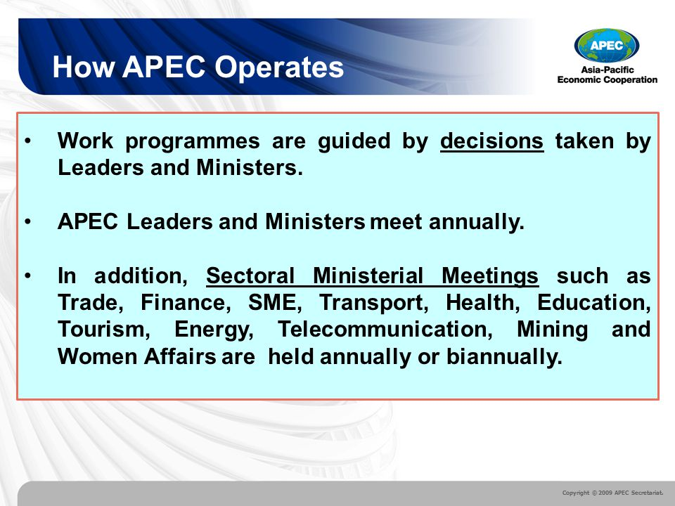 functions of apec Some of the important functions and objectives of wto are :- the former gatt was not really an organisation it was merely a legal arrangement on the other hand, the wto is a new international organization set up as a permanent body.