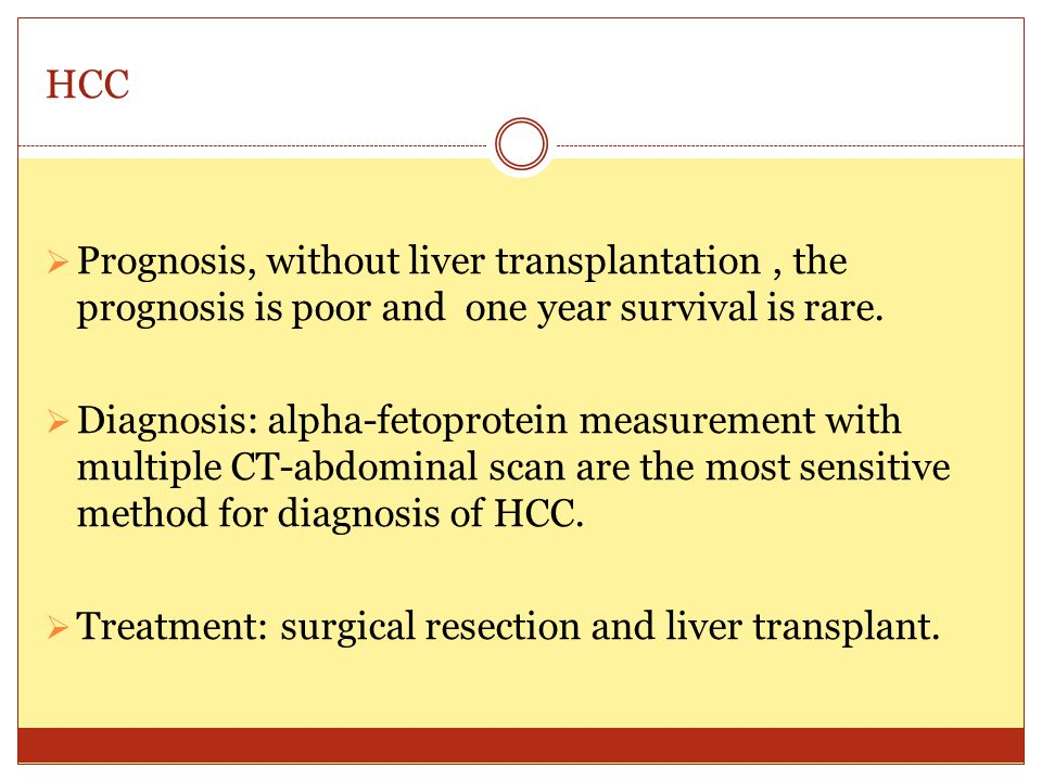 HCC Prognosis, without liver transplantation , the prognosis is poor and one year survival is rare.