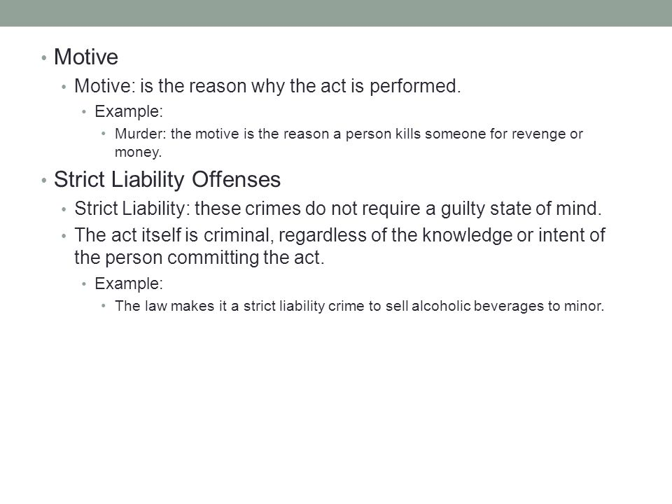 Strict Liability Offenses