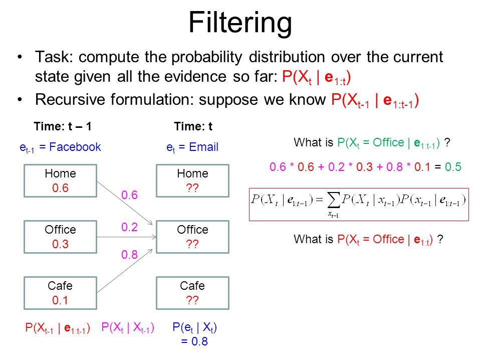 Filtering Task: compute the probability distribution over the current state given all the evidence so far: P(Xt | e1:t)